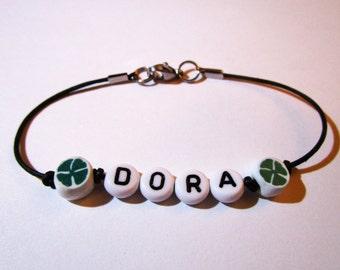 Name bracelet lucky clover