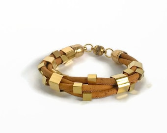 Portuguese cork bracelet, cork bracelet, gold geometric beads, cork jewelry, vegan bracelet, vegan jewelry, orange and gold