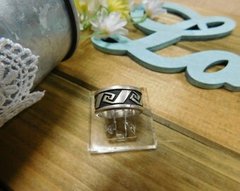 Sterling Silver Band With Aztec Pattern