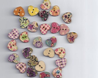 10 Pcs Multicolor Heart Shaped 2 Holes Wood Sewing Buttons Scrapbooking Knopf 1