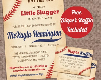 Baseball Baby Shower Invitation with diaper raffle card