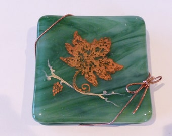 Fused Glass Coasters - Green Swirl Glass with Copper & Gold Mica Grapevine (set of 4)