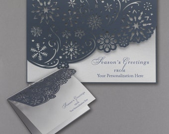 Laser Die Cut Holiday - Christmas Card  Blue Snowflakes Silver Shimmer Lot of 25 SALE PRICE THROUGH 8/29/2016