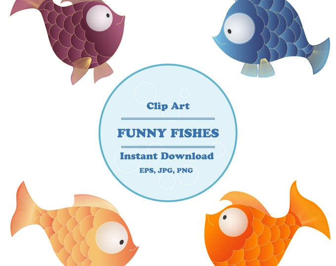 Fish clipart, Sea Animal Clipart, Nautical clipart, Sticker, Scrapbooking, Instant Download, JPG, PNG, EPS