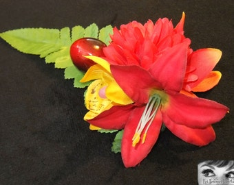 Tropical Rainforest Hair Flower -Pinup/Rockabilly/Vintage Girl/Cherry-