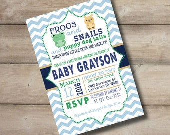 Frogs Snails & Puppy Dog Tails Baby Shower Invite 4x6- Digital