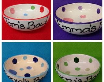 Personalised Spotty Bowl - pink and purple
