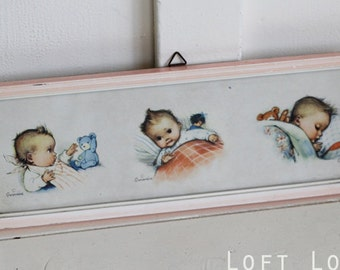 Adorable framed vintage 1950s print of Baby Girl by Geneviéve