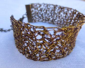 Handmade wire crochet bracelet. Dark gold and brown color bracelet. Wire bracelet.
