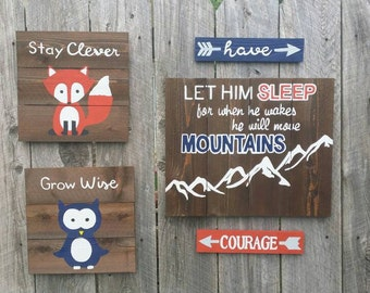 "Rustic Wall Art 5 Pc Set, ""Let Him Sleep For When He Wakes He Will Move Mountains"""