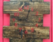 Rustic wood wall clock made from solid pine and stained in a dark walnut,  handmade