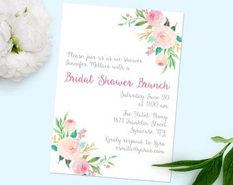 Printable Shower Invitation, Bridal Shower Invitation, Pretty Invitation, Floral Invitation, Wedding Invitation