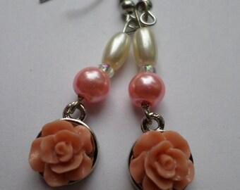 Pink Pearl Rose Drop Earrings
