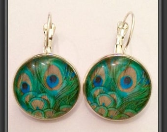 Peacock blue and green cabochon earrings