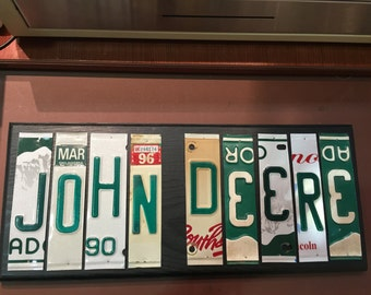 John Deere Sign. License plate sign. Room decor