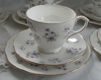 Vintage Duchess Fine Bone China Tea Cup Trio Floral Design