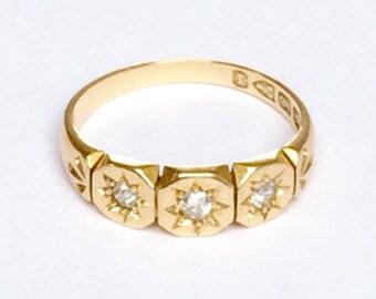 Victorian 18ct Gold Diamond Gypsy Starburst Ring