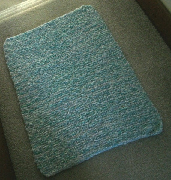 Knitting Patterns For Baby Clouds Yarn : Handmade Seashore Blue Baby Blanket Made W/ Baby Clouds Yarn