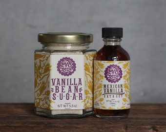 Vanilla Combo: Mexican Vanilla Bean Sugar + Vanilla Extract