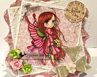 OOAK Art by Miran Flutterby in Pink card