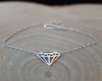 Geometric Diamond Bracelet in Solid Silver with handmade clasp