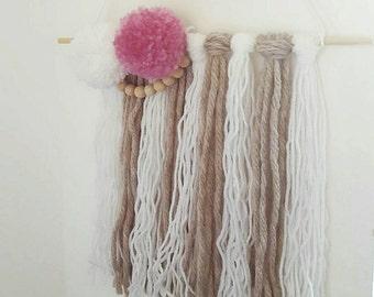 Wool Pom Pom Tassel Wall Hanging