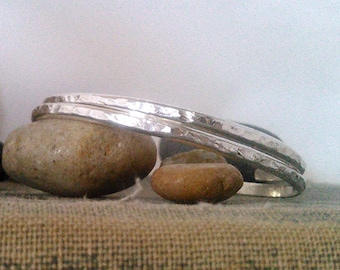 Textured Silver Stacking Cuffs, Bracelets, Bangles by Cherokee Copper