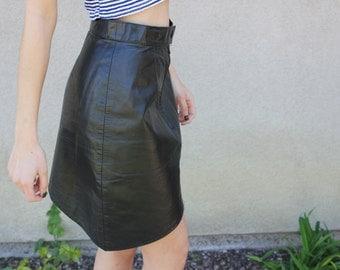 Vintage Asymmetrical Leather 80's Miniskirt