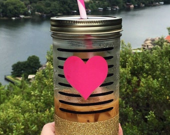 Heart & Stripes Mason Jar Tumbler//Personalized Tumbler