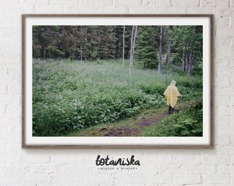 Landscape Photography, Girl, Rain, Nature Photo, Forest Print, Woodland Photo, Printable Art, Large Art, Nature Wall Art,  Woodland,