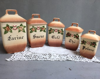 Series of 5 spice jars