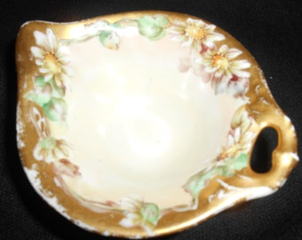 German Antique Candy Dish / Nut Dish with Daisies and Gold trim. OLD