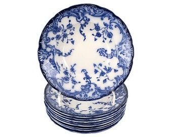 Antique Staffordshire Flow Blue Dinner Bowls,  Blue and White China Dinner Bowls, S/9, Flow Blue China