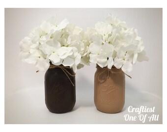 Set of two brown and tan mason jars with twine, home decor, party decor, wedding decor, brown decor, tan decor, painted mason jars, vase