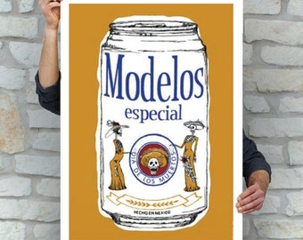 Modelo Beer Cerveza | Sugar Skull Print | Day of the Dead | Street Art