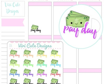 Kawaii Pay day Planner Stickers, Pay day stickers, planner stickers, money stickers, payday stickers, kawaii planner stickers, planning |034
