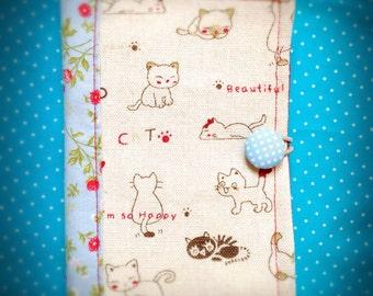 Cats fabric, Passport/Credit Cards holder, handmade.
