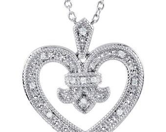 "Diamond Heart Necklace 18"""