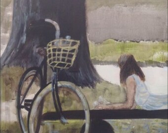 original acryl painting  girl with a bike 1