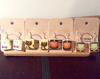 Halloween Scrabble Piece Earrings