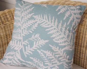 Australian screen print bracken fern on linen cushion cover