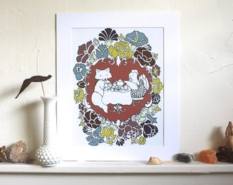 The Fox and the Hen's Tea Party Art Print