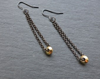 Black and Gold long nugget drop earrings - Long gunmetal/black chain hook wires with gold angled bead