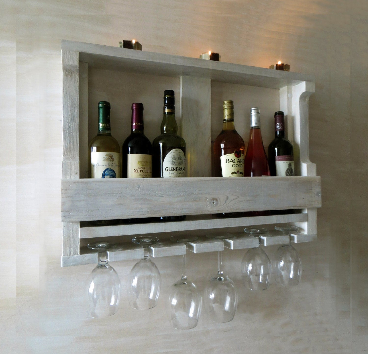 Wooden wine rack hanging wine glass rack white shelf Hanging wooden wine rack