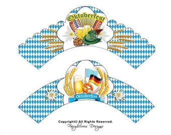 Oktoberfest Blue Checkerboard Wrappers & 4 pc. Matching Pennant Party Banner-Baby Shower Decorations - Instant Download - Party Decorations