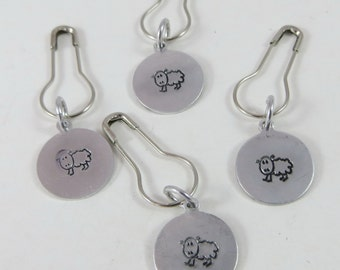 Removable Stitch Markers Hand Stamped Sheep for Knitting or Crochet Set of 4