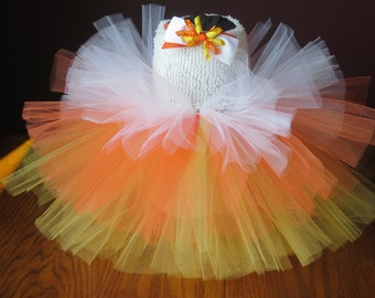 Infant-Baby-Toddler- Candy Corn Tutu with Matching Hair Clip~ Size: 3T-4T~ Ready to Go!!