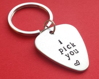 I pick you personalized hand stamped keychain, guitar pick keychain, hand stamped guitar pick, Valentine's keychain