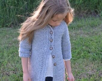 Girls Sweater, Girls Cardigan, Childrens Clothing, Crochet Cardigan, Girls Accessories, Grey Cardigan, Girls Grey Sweater, Girls Layering