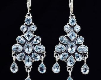 Blue Topaz earrings, Handmade earrings,Sterling Silver earrings,Leverback earrings, Chandelier earrings